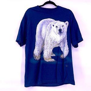 Vintage polar bear navy blue t shirt size large